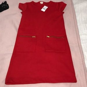 BNWT J.Crew Red Shift Dress with Pockets
